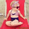 2017 Lindo de Rayas Marinero Niño Bikini traje de baño del traje de baño de talle alto traje de baño para niños bebé niñas niños traje de baño Biquini