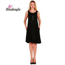 Dasbayla 2017 Summer Women's Casual Sleeveless Tunic Tank Top Dress O-Neck solid A-Line Dress long Tshirt Loose fit