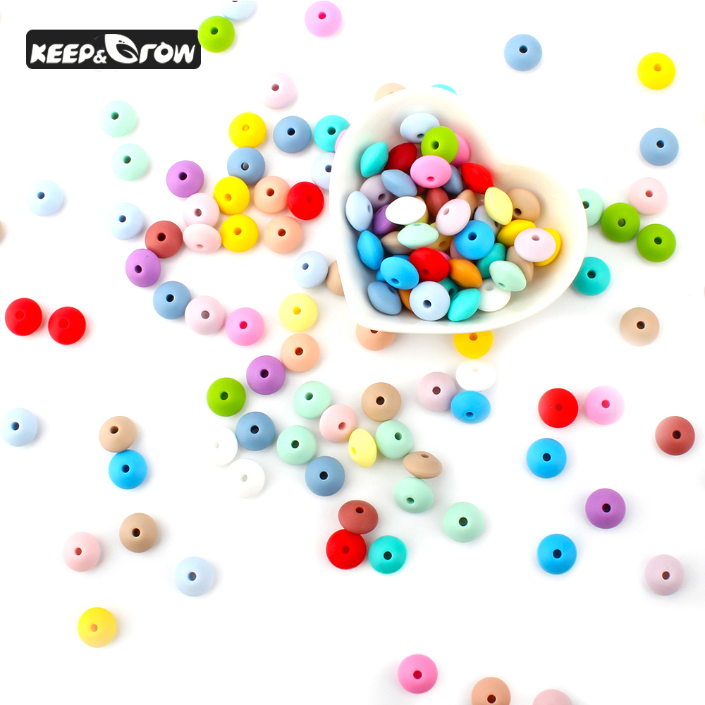 KEEP&GROW 30Pcs Silicone Lentil Beads 12mm Baby Teething Beads Food Grade Silicone Teethers DIY Jewelry Making Accessories