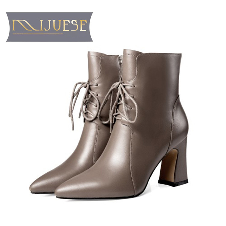 MLJUESE 2019 women ankle boots cow leather lace up winter short plush pointed toe square heel high heels boots women boots women ankle boots pu leather short plush 7cm high thick block heel square toe white zipper winter black casual office lady boots