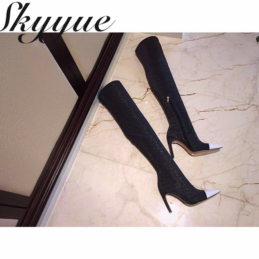 SKYYUE New Stretch Genuine Leather Slip On Women Long Boots Sey Pointed Toe Over The Knee HIgh Thigh High Boots Shoes Women long pointed toe casual boots sock thigh high black luxury brand shoes women tall over the knee 2018 knit slim slip on stretch