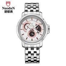 Новая Мода Часы Мужские Наручные Часы Nuodun Повседневная Часы Мужчины Водонепроницаемый Нержавеющей Стали Кварцевые Часы Календарь Homme Montre