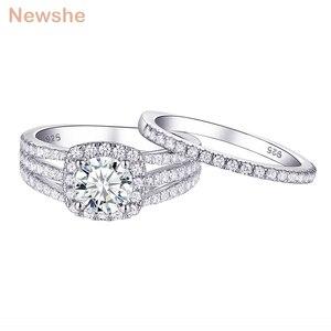 Newshe 2 Pcs Wedding Ring Set