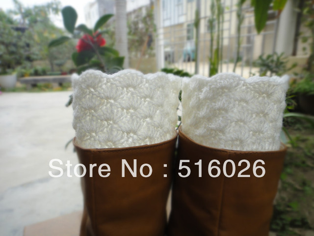 wholesale Crochet Leg warmers Boot Cuffs Boot toppers in white, boot socks, new year sale, 3pair/lot