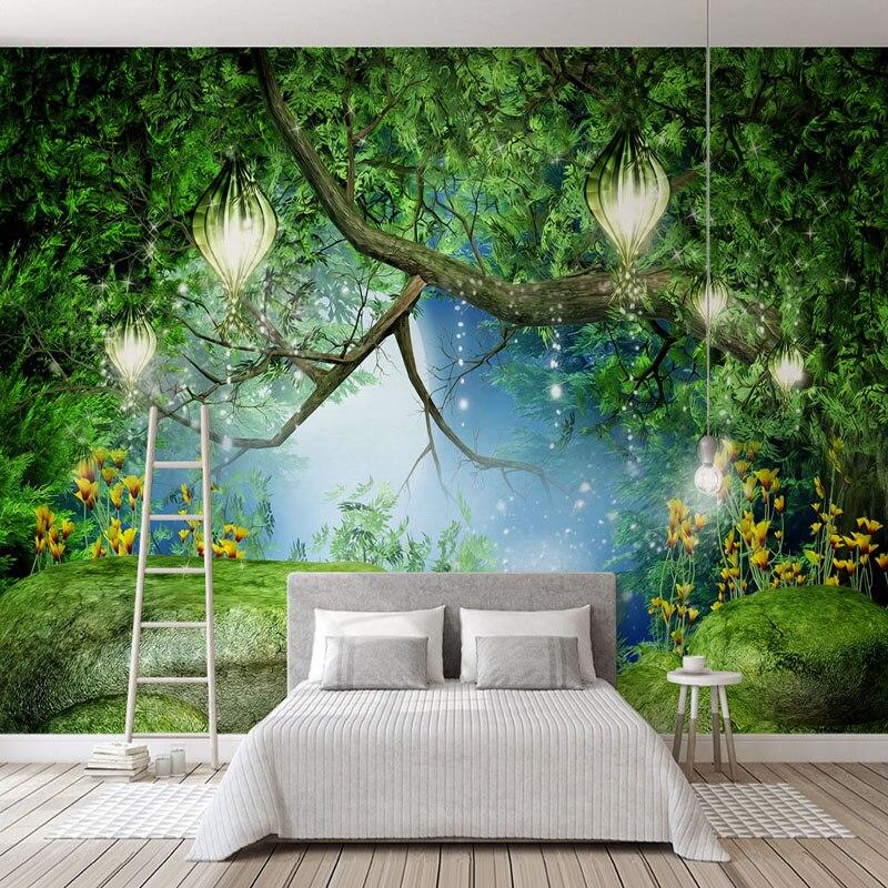 Nach Tapeten Für Wände 3d Stereo Grün Forest Stream Landschaft Foto Tapete Wohnzimmer Tv Sofa Hintergrund Wand Tuch 3d Heimwerker