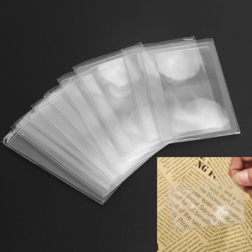 10pcs Magnifiers Credit Card Shape 3X Transparent Magnifier Magnification Magnifying Fresnel LENS Made Of  Plastics 8x5.5x0.04cm