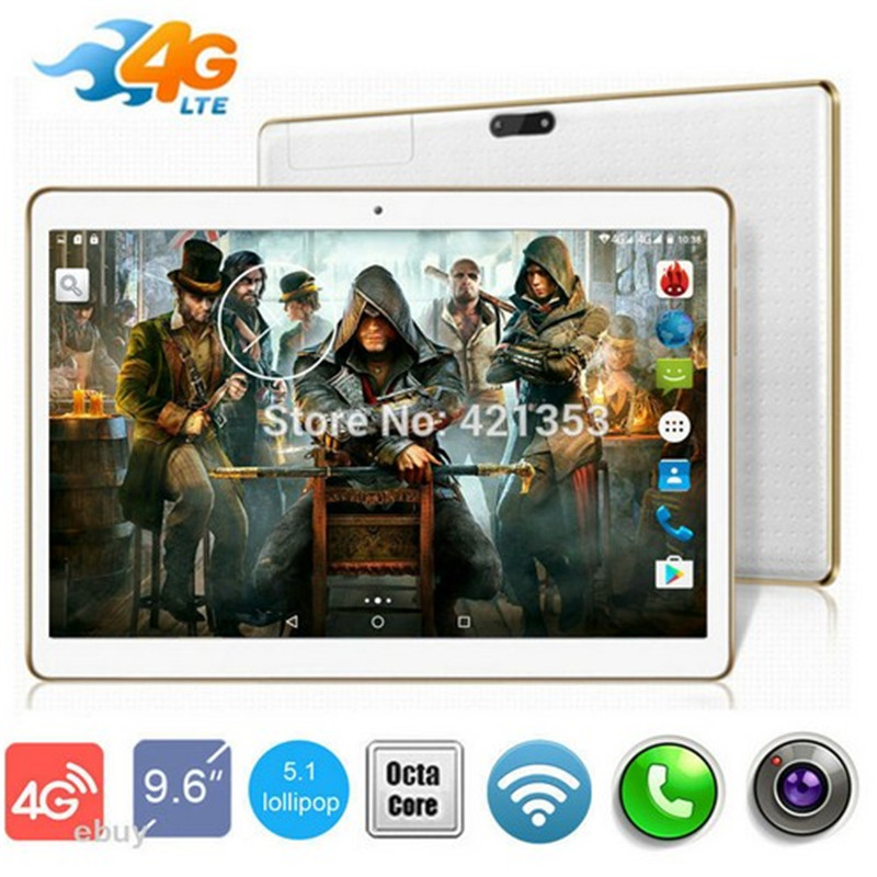 9.6 inch Tablet Octa Core 3G 4G LTE 1280*800 4GB RAM 64GB ROM Dual SIM Card Android 5.1 GPS Wifi 3G tablet pc 10.1 +Gifts автомобильный dvd плеер joyous kd 7 800 480 2 din 4 4 gps navi toyota rav4 4 4 dvd dual core rds wifi 3g