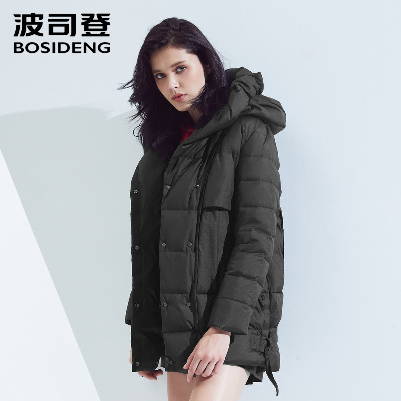 Bosideng down jacket female short paragraph personality thick section warm autumn and winter hooded jacket B80131102