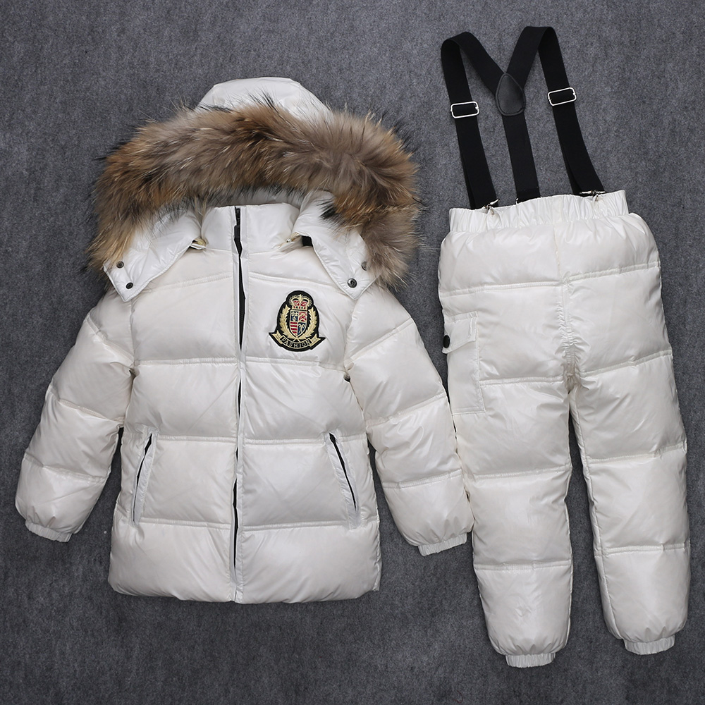 ФОТО super warm children winter suits boys girl duck down jacket + bib pants 2 pcs clothing set thermal kids snow wear top quality