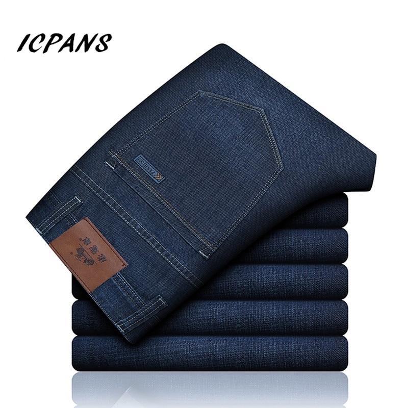 ICPANS Summer Denim Jeans Men Classic Stretch Casual Men's Jeans Clothes Jeans Long Trousers Black Blue Jeans For Men Big Size