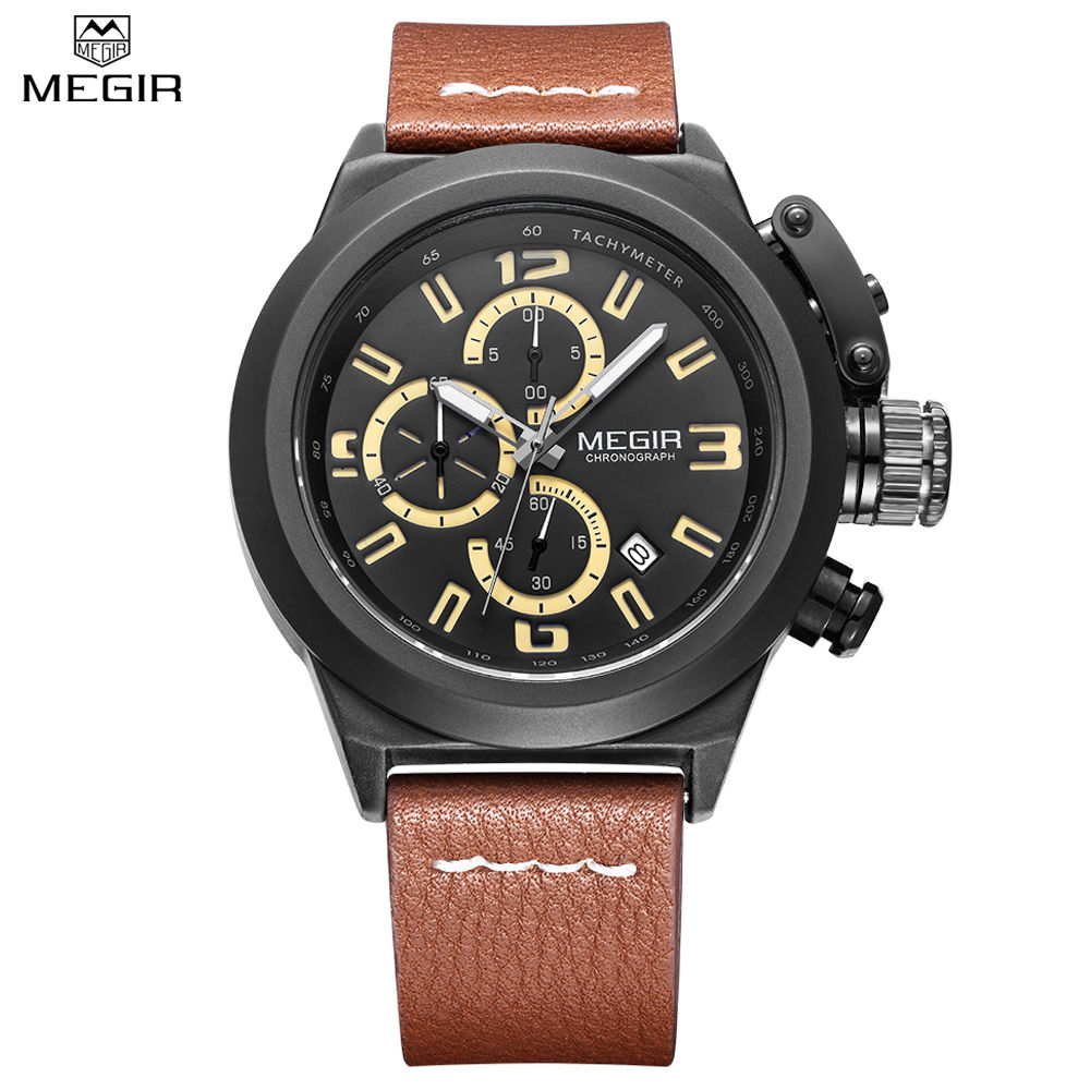 MEGIR Men Chronograph Waterproof Multifunction Casual Watch Auto Date Sport Military Watches Engraved Dial Relogio Masculino