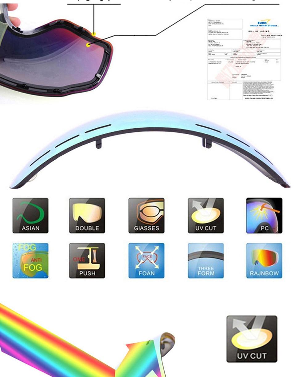 4edfbde95 6 Cores Anti-fog de Esqui Óculos De Proteção UV400 Lente Lente Brilho Para  A Luz Fraca Do Tempo Nublado S-3100/GOG-201 (única Lente)USD 8.66/piece ...