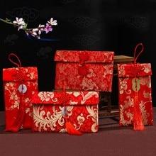 Китайский красный конверт, Подарочная сумка для помолвки, изысканный цветочный карман для денег, Высококачественная парчовая Свадебная сумка с кисточками, тканевая сумка с узлом