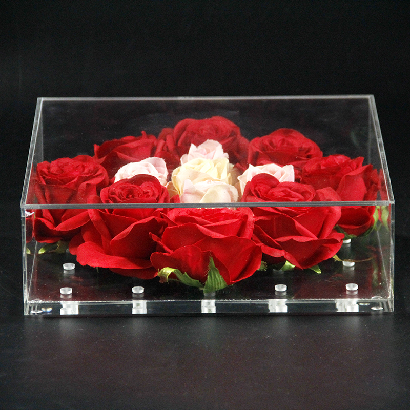 Nouveau Rose fleur boîte acrylique clair luxe 25 trous Valentine cadeau boîte à la main cadeau boîte de rangement