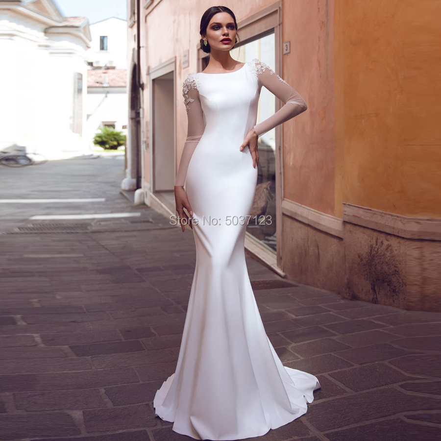 Satin Mermaid Long Sleeves Wedding Dresses O Neck Illusion Open Back Sweep Train Vestido De Noiva Bridal Wedding Gown Plus Size