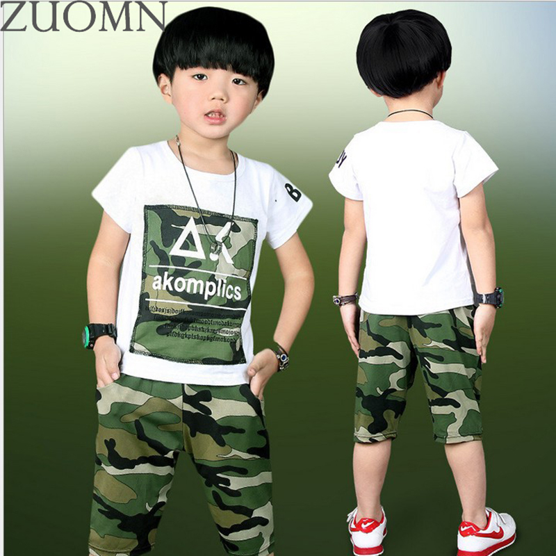 Summer Children Clothes Kids Camouflage Set Baby Boys Short Sleeve Clothes T-shirt Tops + Pants 2PCS  SetsOutfit Clothing YL570