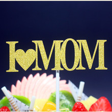 I Love Mom Mathers Day Happy Birthday Cake Flag Topper For Party Baking Decor Multi Colors
