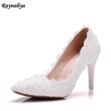Lace Flower Wedding Shoes Beautiful Handmade Women High Heels Girl Party Prom Pumps Bridal Shoes White 9CM Heel  XY-A0004 white lace flower flat heel wedding flats shoes woman bride bridal handmade plus size 41 42 43 beading pearls party shoe hs312