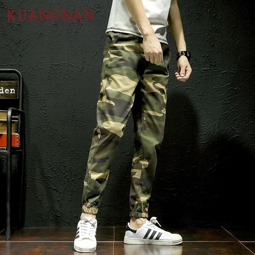 KUANGNAN Men Pants Camouflage Streetwear Joggers New Green Hip-Hop