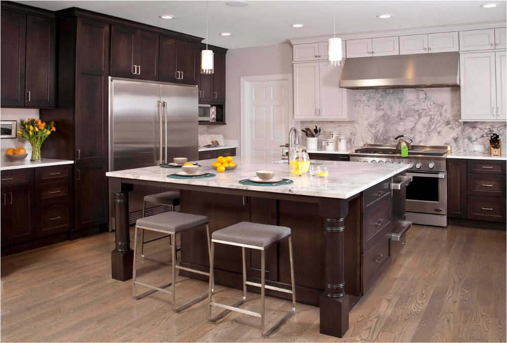 Kitchen Cabinet 2017 New Style Solid Wood Kitchen Furnitures Wooden Black Kitchen  Cabinets S1606002(China
