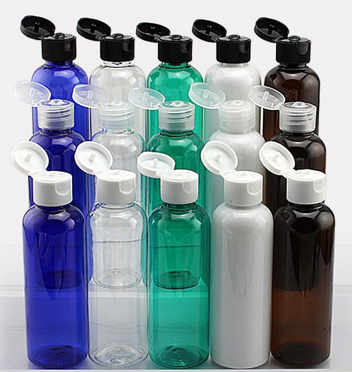 100ml Transparent blue green white brown Flip top cap plastic bottle 3 5OZ Small Empty Bottle