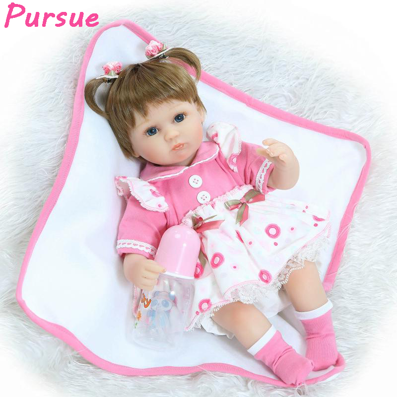 цена на Pursue 16 Inch Silicone Reborn Baby Doll with pacifier Brown Hair Blue eyes baby wee wee doll kids Playmate Gift For Girls 43cm