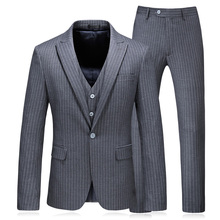Men Gray Striped Suit 2018 Slim Fit One single-breasted Suits For Wedding Big SIze S-5XL Mens Formal 3 Piece Business