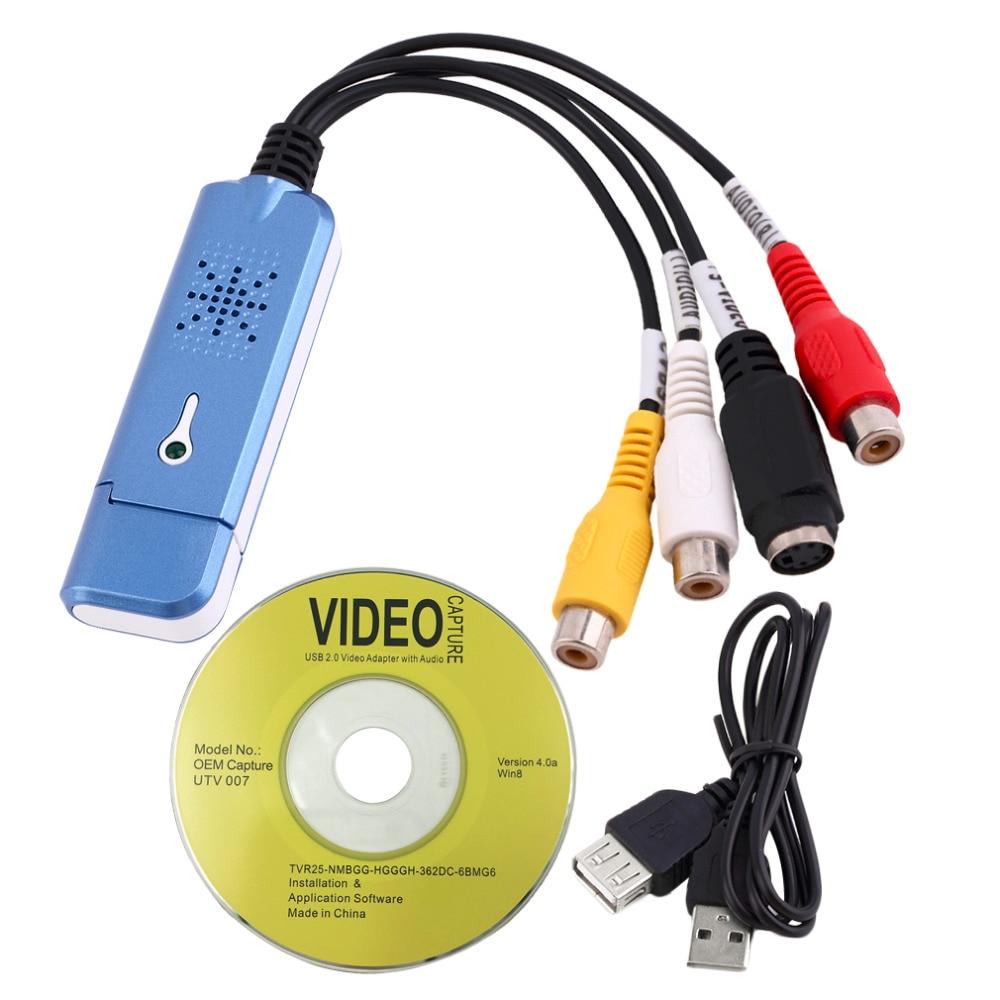 Portátil USB 2,0 Easycap Video de captura de Audio adaptador de tarjeta VHS DC60 convertidor de DVD compuesto RCA azul al por mayor