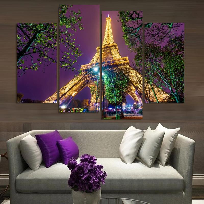 4 piezas Torre Eiffel Paisaje nocturno Decoración moderna de la - Decoración del hogar
