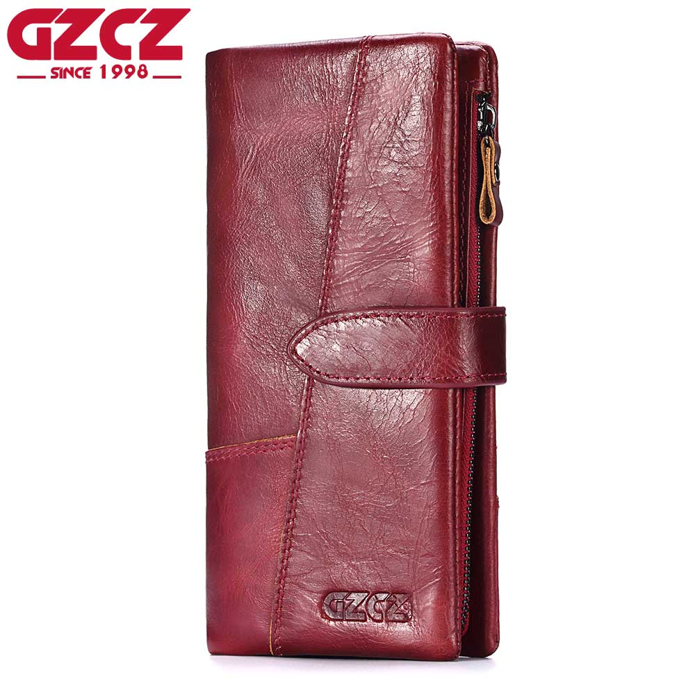 GZCZ Genuine Leather Women Wallet Female Portomonee Long Walet Woman Fashion Large Capacity Lady Clutch Hasp Coin Purse Pocket