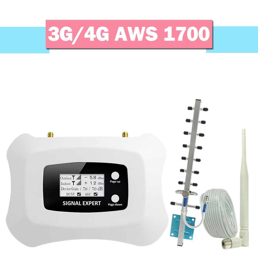 Full Intelligent 4G AWS 1700 2100 Mobile Phone Signal Repaeter Band 4 AGC LCD Display 70dB Cellular Amplifier 4G LTE Booster Set