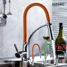 GIZERO Kitchen Pull Out Faucet Water Mixer Taps Flexible Faucet Deck Mounte Single Handle Chrome Polished ZR666