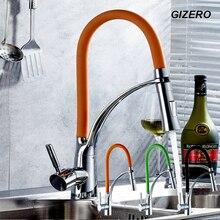 Кухня Вытащить Кран Смесители Гибкий Кран На Бортике Одной Ручкой Chrome Polished ZR666
