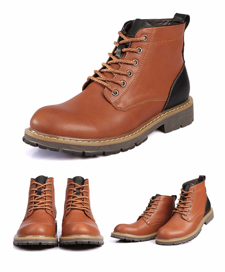 2016 Fashion Genuine Leather Boots Mens Shoes Casual Lace Up Flat Heel Motorcycle Boots Round Toe Men Ankle Boots Size 38-44 H72 (7)