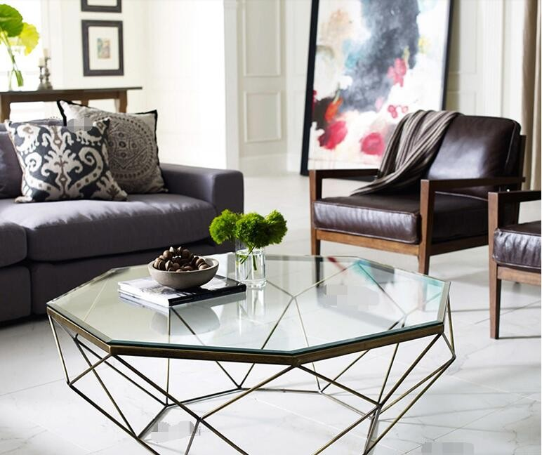 Nordic Iron size apartment living room coffee table glass round ...
