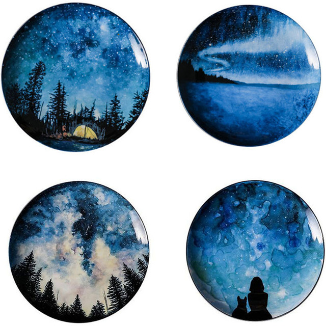 Star Gaze 8 inch Round Ceramic Plates Set 4 styles
