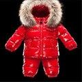 Crianças roupas da moda inverno gola de pele de alta qualidade parágrafo das crianças terno do lazer casaco quente crianças conjunto de roupas