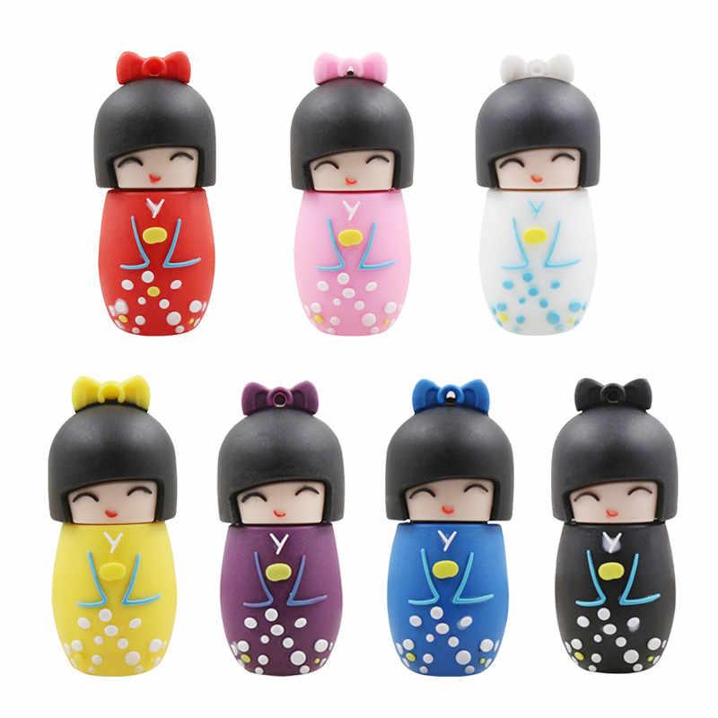 Kartun Pena Drive Boneka Jepang Kimono Gadis USB Flash Drive 64 GB 32 GB 16 GB 8 GB 4 GB flash Memori Stick Flashdisk untuk Anak Hadiah