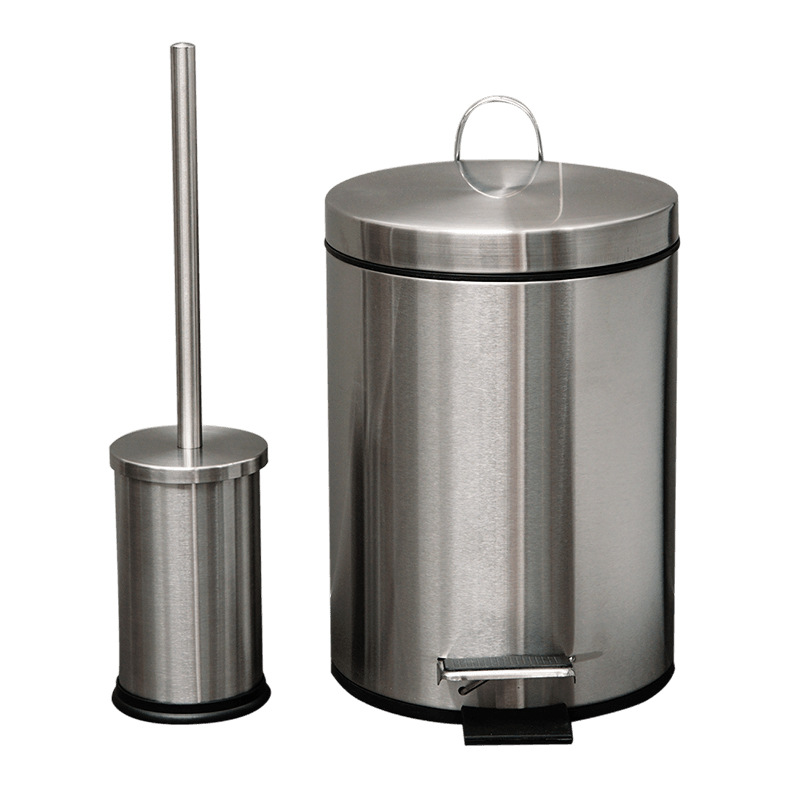 8 Litre Circular Trash Can with Toilet Brush Set 304 Stainless Steel Toilet Brush Holder Trash Can Bathroom Toilet Brush Set trash