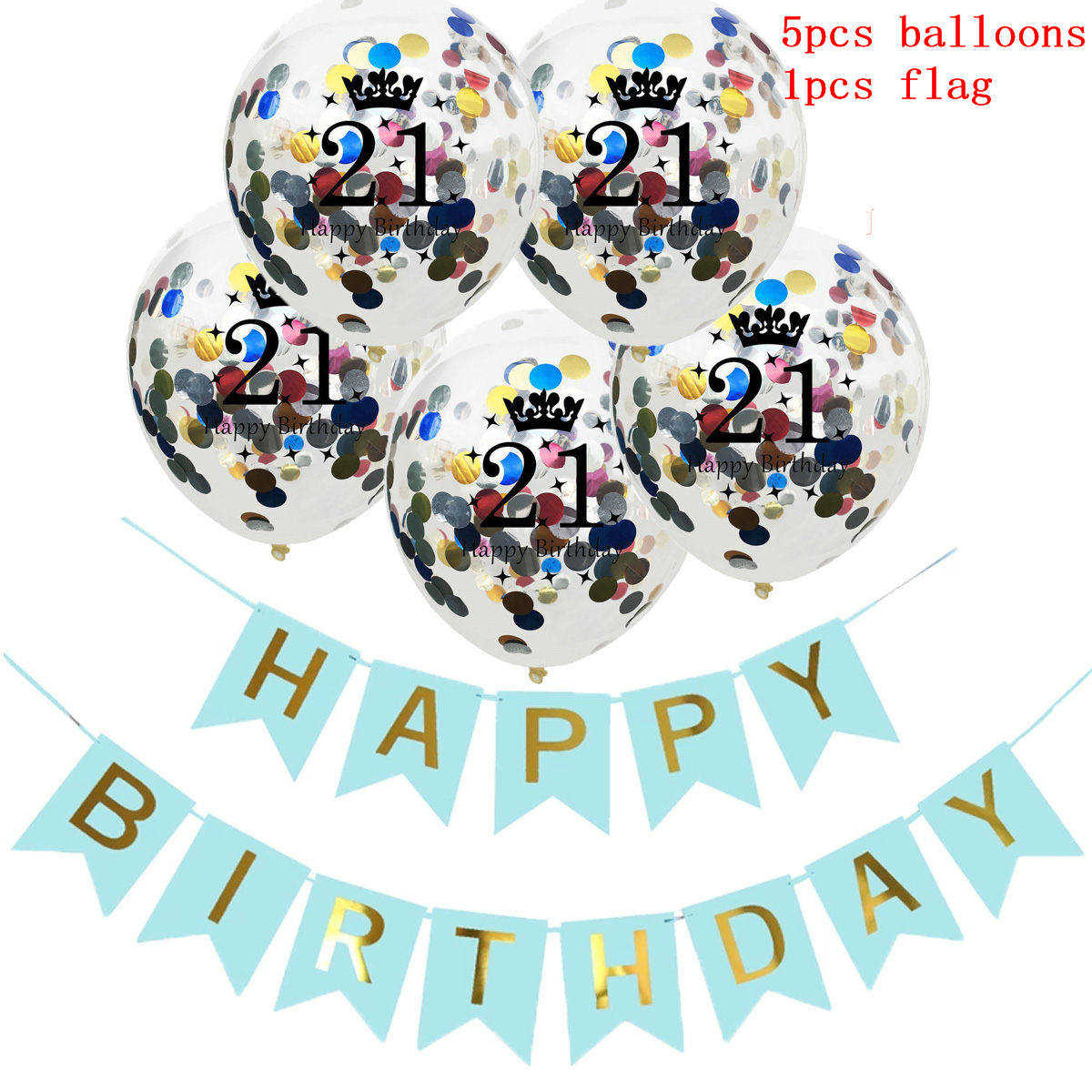 6pcs set 21st Balloons Sequins Balloons Latex Balloons Blue Birthday Flag Engagement Party Events DIY Decoration in Ballons Accessories from Home Garden