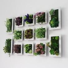 Стиль 3D креативные пластиковые суккуленты растение для украшения дома Настенная вешалка искусственный цветок рамка Настенная Наклейка магазин Декор
