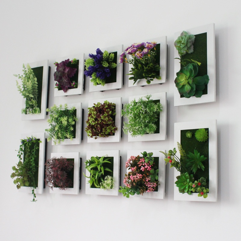 2020 New Style 3d Creative Plastic Succulents Plant Home Decoration Wall Hanger Artificial Flower Frame Wall Sticker Store Decor Big Offer D42f Cicig