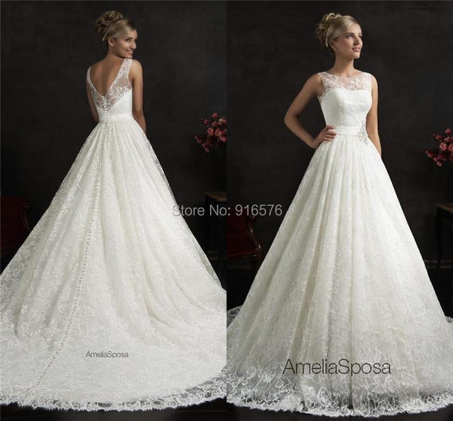 Bridal Gowns Lace Wedding Dresses Sheer Straps V Back A line Beach ...
