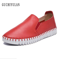 2018 Spring Women Sneakers Oxford Shoes Flats Shoes Women Leather Boat Shoes Red Round Toe Flats
