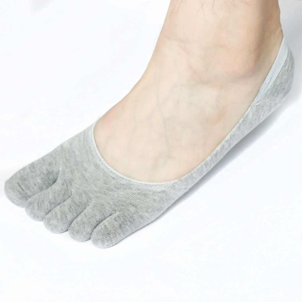 1 пара модных хлопок Для мужчин пять пальцев носки, носки-невидимки, невидимые, Нескользящие ботильоны; Воздухопроницаемый материал; нескользящая; носки для девочек; сезон лето