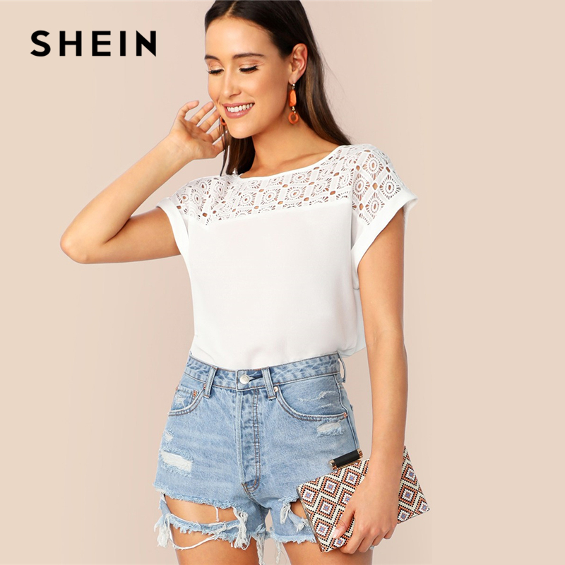 SHEIN White Guipure Lace Yoke Roll Up Sleeve Tunic Top Hollow Out Blouse Women Summer Elegant Office Lady Workwear Top Blouses