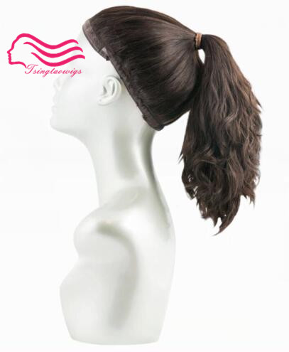 Wonder wig 100 european virgin hair sports bandfall Pony wig tsingtaowigs unprocess hair kosher Wig free