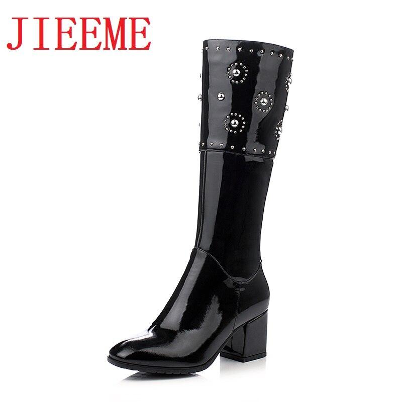 De 2018 Vaca Zip Nueva Hasta Mujer La Mujeres Cuadrados Negro Cuero Toe Rodilla Tacones Cristales Altos Llegada Zapatos rEgqE