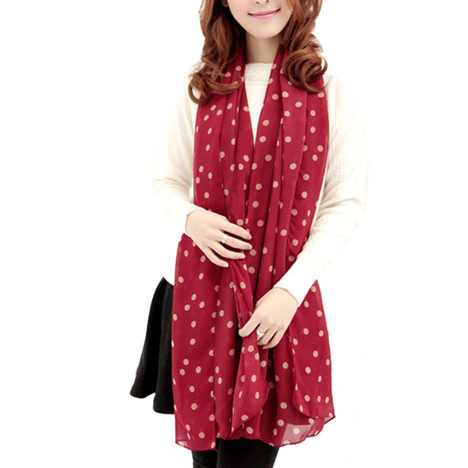 MUQGEW New Youthful Style Girl Long Soft Silk Chiffon   Scarf     Wrap   Polka Dot Popular Comfortable Shawl Scarve For Women Tippet