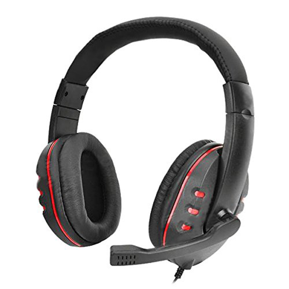 New Gaming Headset Voice Control Wired HI-FI Sound Quality For PS4 Black+Red For computers,game consoles mobile phones#ZS